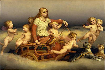 Freyja, Cats and Angels, by Nils Blommer (1816-1853), history of the cat