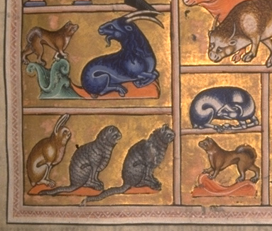 Adam Names the Animals Aberdeen Bestiary Folio 005r Detail 12th Century Source: Aberdeen Library, cats in psalters and bestiaries