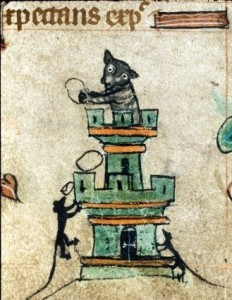 1320-30SEEnglandBookofHoursHarley6563F.72Catinatower, cats in books of hours, medieval cats