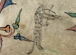 1320-30SEEnglandBookofHoursHarley6563F.72Catplayingarebec,cats in books of hours, medieval cats
