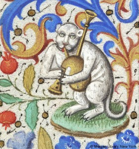 Cat Playing a Bagpipe 1460 Book of Hours for use of Rome Hours of theVirgin office of the Dead Paris MSM.0282 fol.133v. Source: P. Morgan Library, New York, cats in books of hours, medieval cats