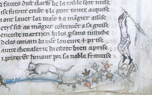 1350 Les Voeux du Paon N. France MSG.24 fol.42r Woman Threatens Cat with Spindle Source: Morgan Library, New York, Cat in Middle Ages Manuscripts