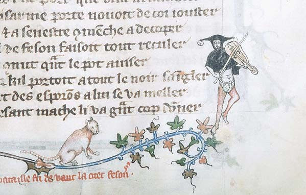 1350 Les Voeux du Paon Northern France Cat Watches Fool Fiddle MSG.24fol.32r Source: Morgan Library, New York,Cat in Middle Ages Manuscripts