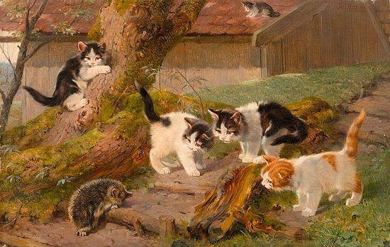Fünf-Katzen-und-ein-Igel.-Öl-auf-Leinwand. Julius Adam II Private Collection