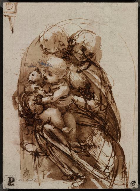 Da Vinci Virgin with child and cat
