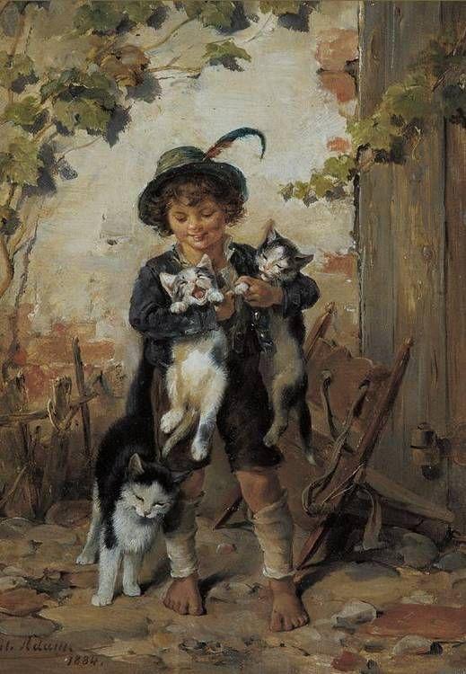 Boy with Cats Julius Adam II