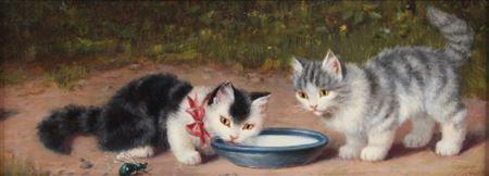 Zwei Kätzchen mit Milchschale Julius Adam II Private Collection