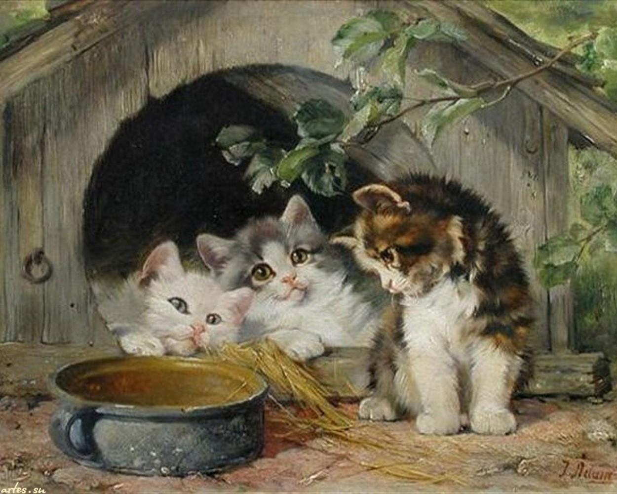 Three Kittens Julius Adam II Private Collection