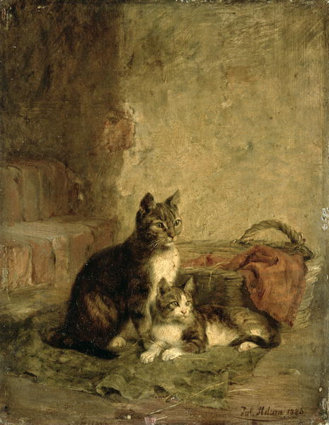 Mother and Kitten Julius Adam Private Collection
