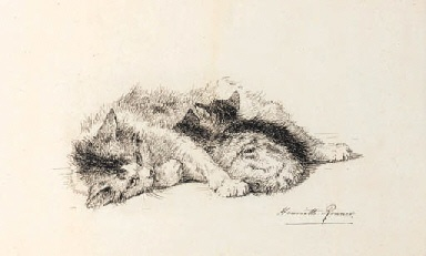 A Study of a Cat and Kitten Henriette Ronner-Knip Pen and Black Ink Private Collection