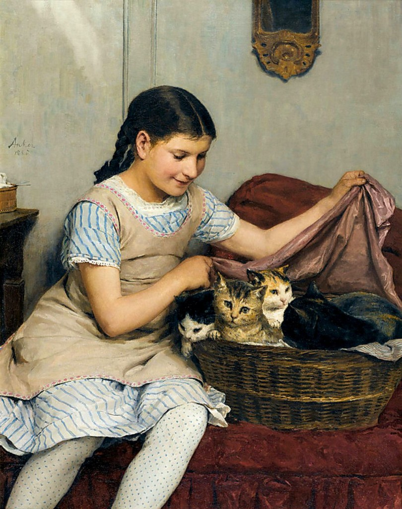 Girl with Kittens in Basket Albert Anker 1862 Private Collection