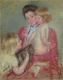 Reine Lefebvre with Blond Baby, Girl and Cat Mary Cassatt
