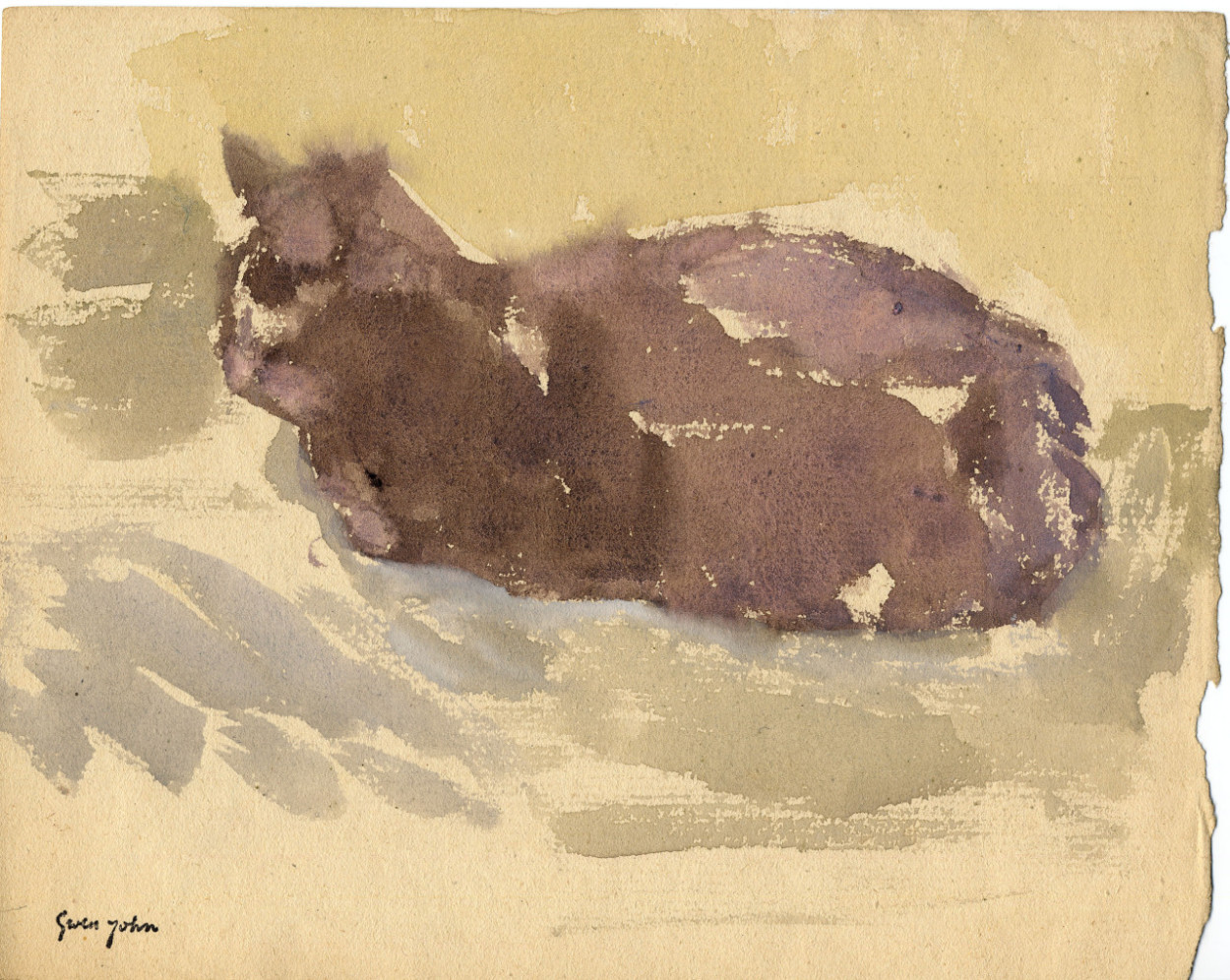 Cat Lying Down Facing Left Gwen John 1910-20 Private Collection