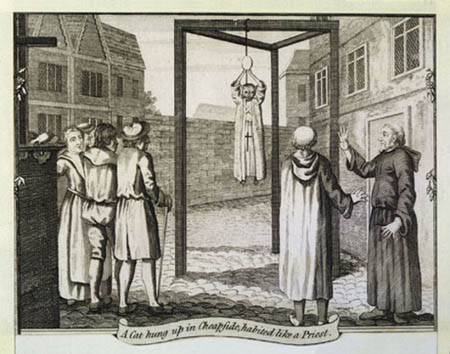 Cat Being Hanged as a Priest, cats