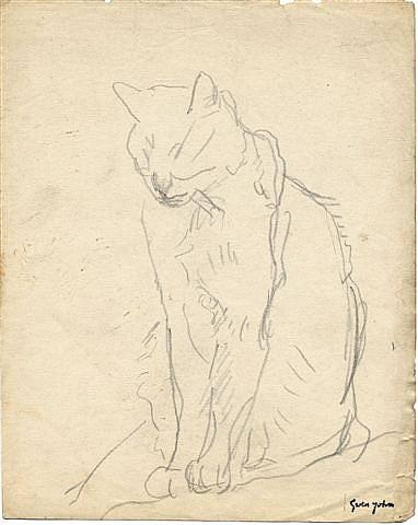 Cat Sitting with Eyes Closed Gwen John Sketch