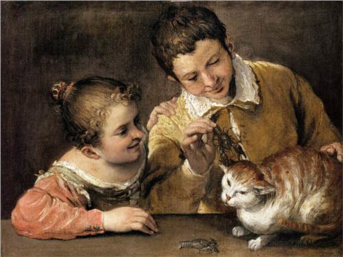 Two Children Teasing a Cat Annibale Carracci 1590 Metropolitan Museum of Art-Cats in Baroque art
