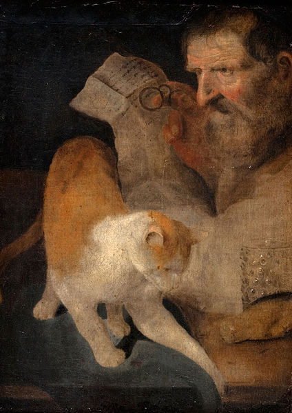 Cats in Baroque Paintings Mann mit Katze Christoph Paudiss 1618 Private Collection