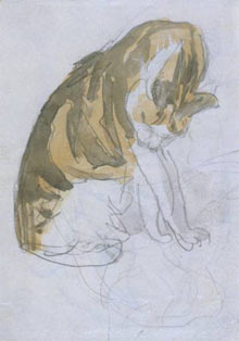 Cat Cleaning Itself Gwen John Watercolor on Paper 1904-08