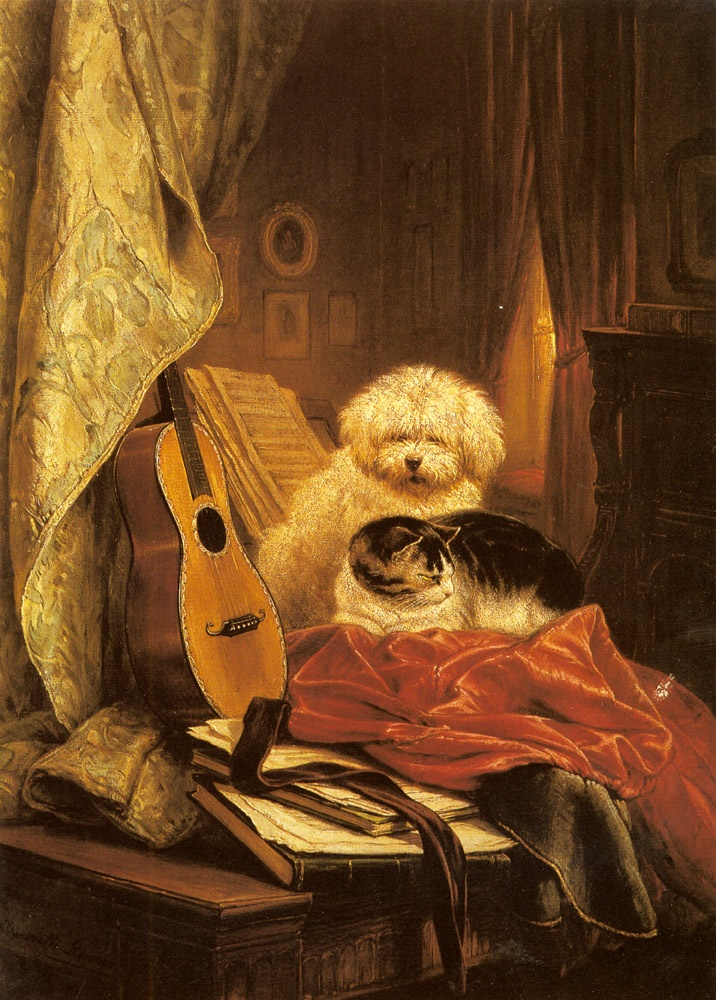 Best Friends Henriette Ronner-Knip Oil on Canvas Private Collection