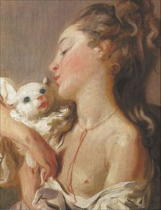Jean-Honoré Fragonard (Francia, 1732-1806). Young Girl Kissing a Cat