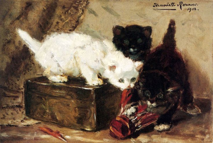 Kittens at Play Henriette Ronner-Knip On Paper Mounted on Panel 1902 Private Collection