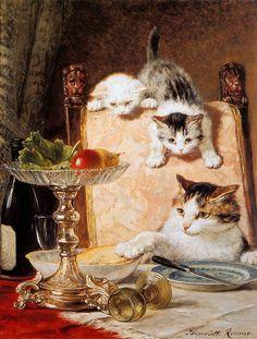 Les Ameurs de Fromage Henriette Ronner-Knip Private Collection