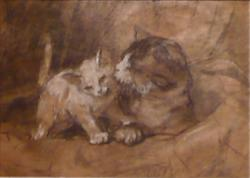 Mother Cat and Kitten Henriette Ronner-Knip Pastel on Paper Private Collection