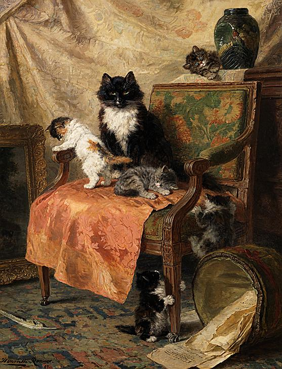 Kittens at Play Henriette Ronner-Knip Oil on Canvas 1897 Private Collection