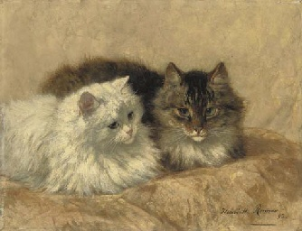 Two Resting Cats Henriette Ronner-Knip Oil on Panel 1893 Private Collection
