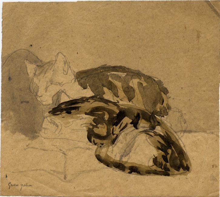 Two Tortoiseshell Cats Sleeping Gwen John