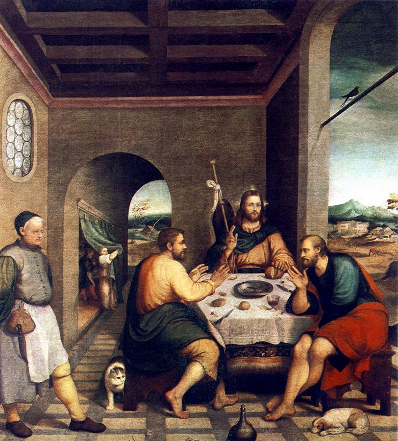 Supper at Emmaus Francesco Bassano 1570, cat in Mannerist and religious paintings