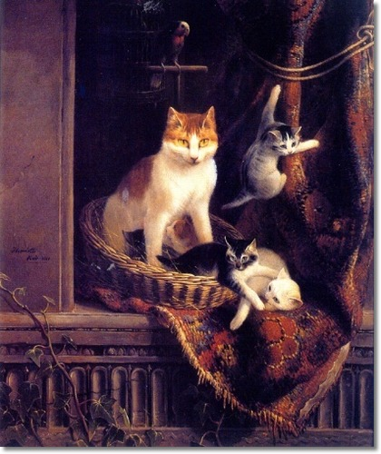 Cat Playing with Kittens Henriette Ronner-Knip Private Collection