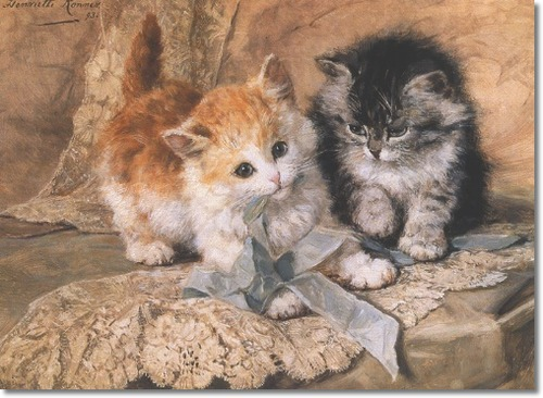 Henriette Ronner-Knip Kittens and Bows Private Collection