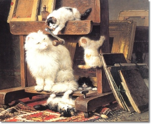 The Painting Lesson with cats and kittens Henriette Ronner-Knip Private Collection