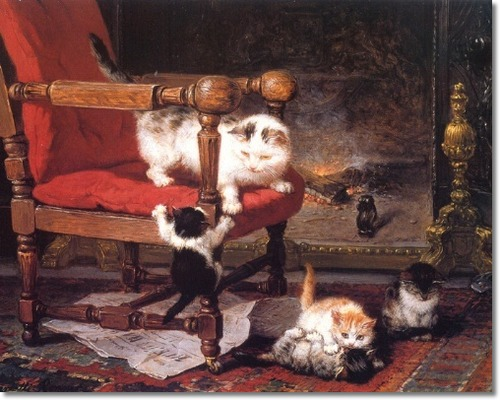 Cat and Kittens Playing by the Warmth of the Fire Henriette Ronner-Knip Private Collection