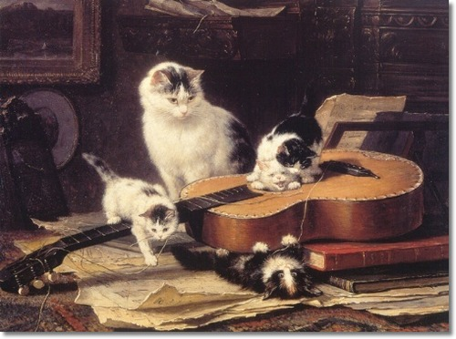 The Guitar Lesson with Cat and Kittens Henriette Ronner-Knip Private Collection
