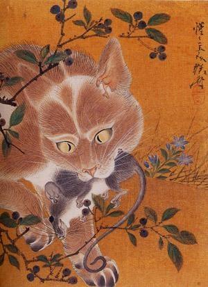 Cat and Rat Kawanabe Kyosai Japanese 1831-1889 Chinese cat poems