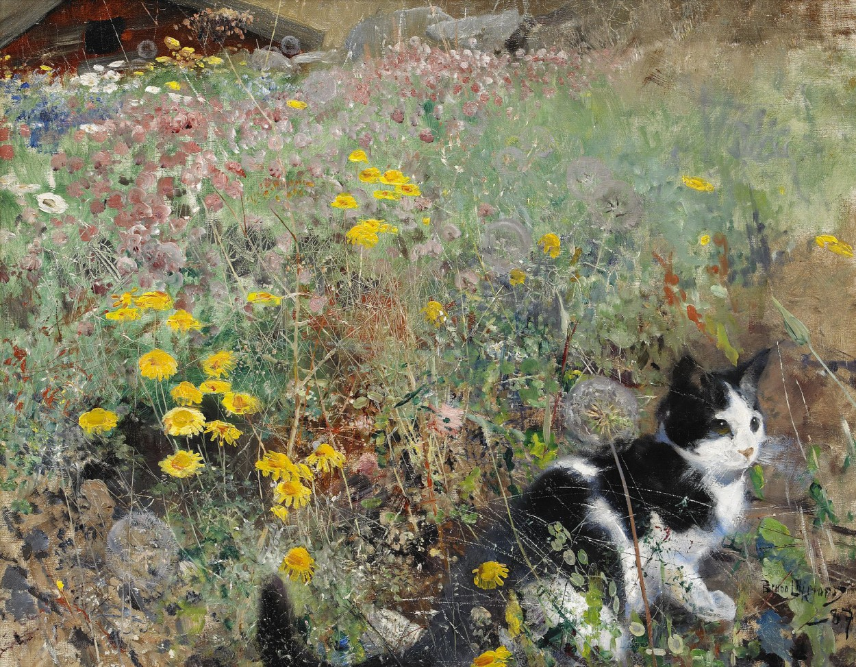 Cat on a Flowerbed Bruno Liljefors 1887 cat paintings