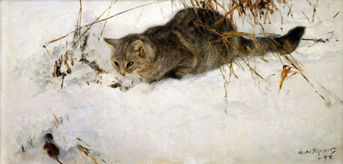 Cat Stalking a Mouse in the Snow Bruno Liljefors Private Collection - cat paintings