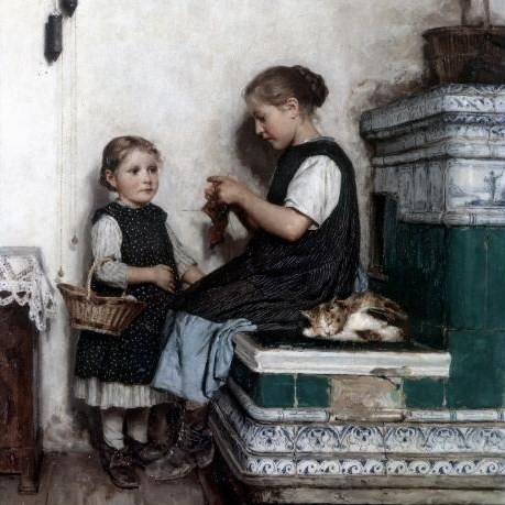 Girls Knitting Albert Anker Private Collection- cats in art