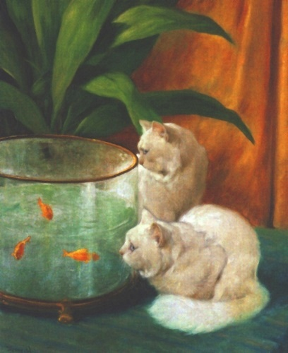 Two White Persian Cats Looking into a Goldfish Bowl Arthur Heyer Private Collection