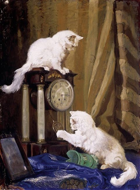 White cats Playing with the Clock Private Collection