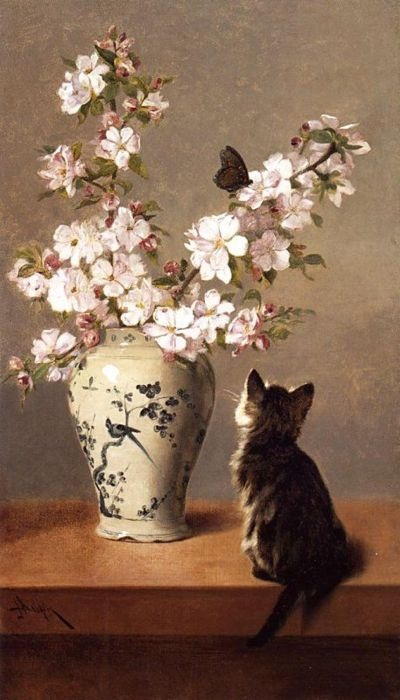 Kitten Watching a Butterfly John Henry Dolph Private Collection