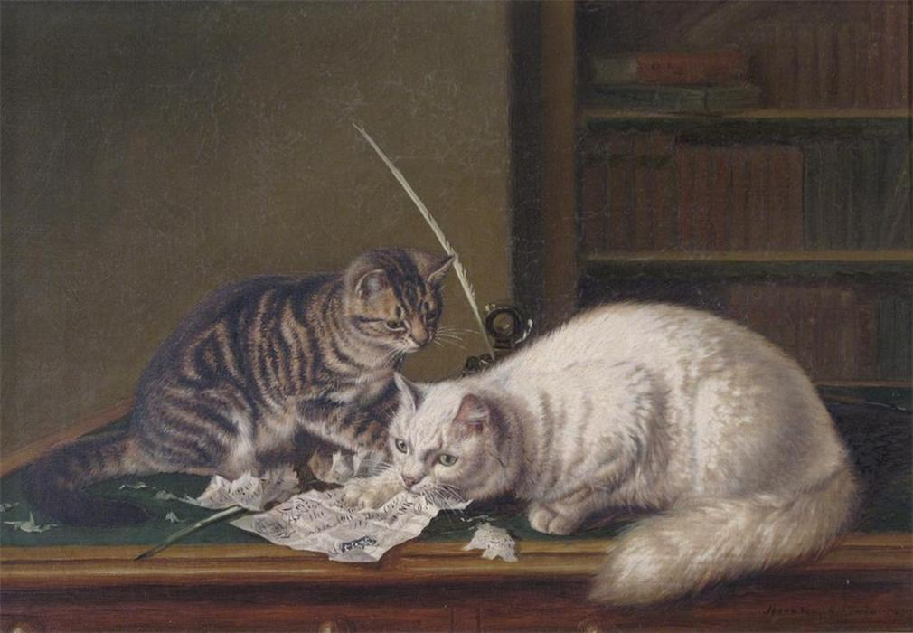Naughty Cats Eating a Five Pound Note Horatio Henry Couldery Private Collection
