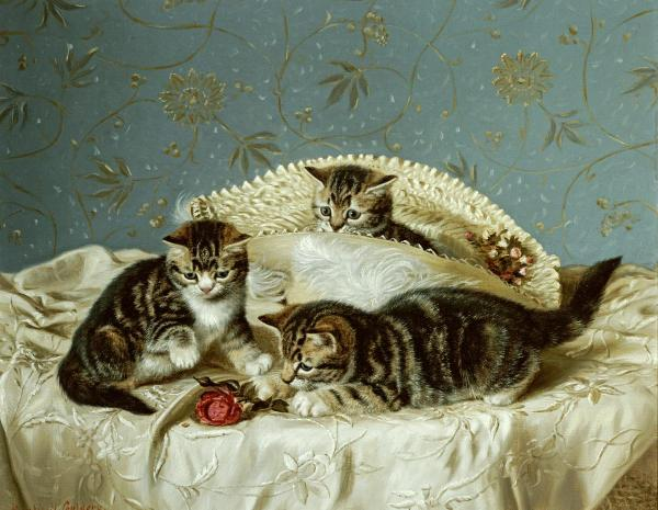 Kittens Up to Mischief Horatio Henry Couldery Private Collection