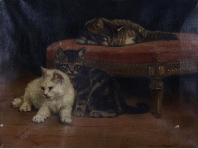 Cats by a Stool John Henry Dolph Private Collection cats in art
