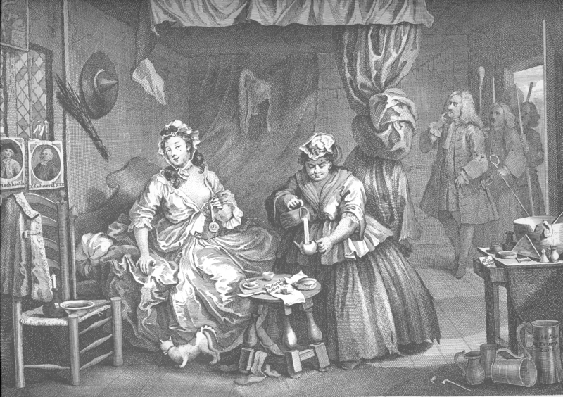 The Harlot's Progress 1732, William Hogarth, cats in art