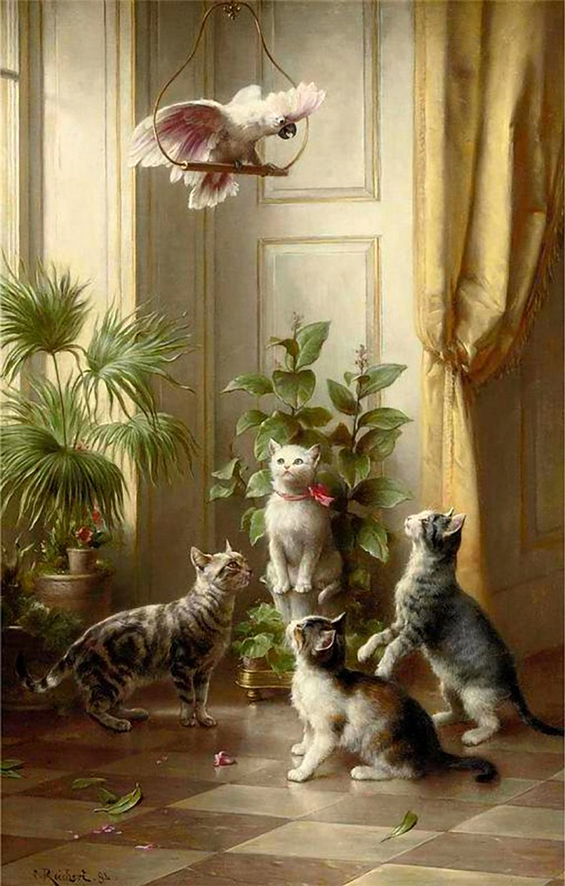 Cats and a Cockatoo Carl Reichert Private Collection