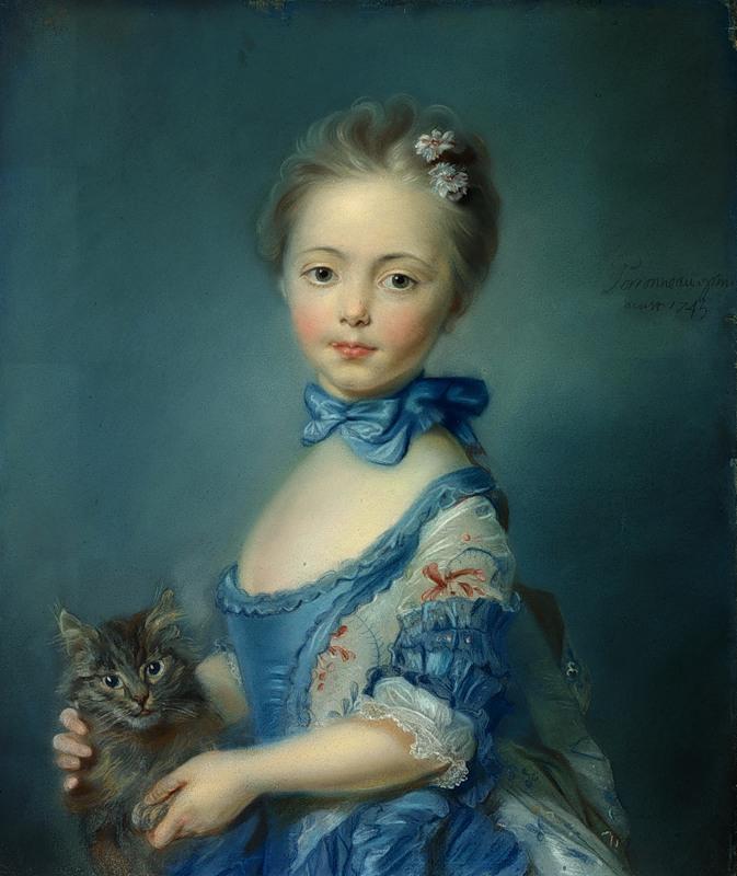 Girl with a Kitten 1745 Jean Baptiste Perronneau National Gallery, London , Perronneau, Crespi, Desportes