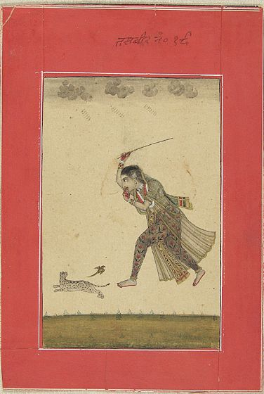 Indian Lady Chases a Cat with a Stick 18th Century Artist Unkown cats in Indian art